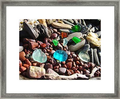 Sea Glass Art Prints Beach Seaglass Framed Print by Baslee Troutman