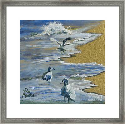 Sea Gulls With Gold Leaf By Vic Mastis Framed Print by Vic  Mastis