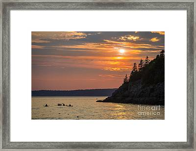 Sea Kayakers In Frenchman Bay Maine Framed Print by Diane Diederich