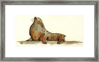 Sea Lion Framed Print by Juan  Bosco