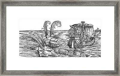 Sea Monsters Or Whales, 16th Century Framed Print by Photo Researchers