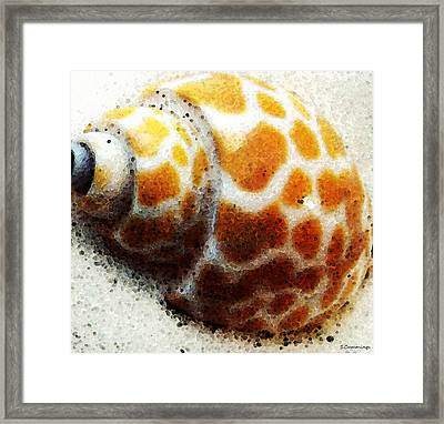 Sea Shell Beach Painting Art Framed Print by Sharon Cummings
