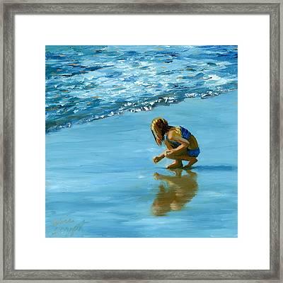 Sea Shell Seeker Framed Print by Alice Leggett