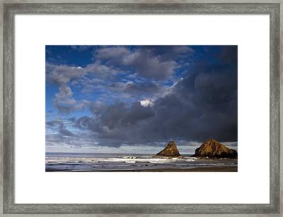 Sea Stacks At Dawn Framed Print by Andrew Soundarajan