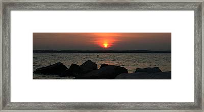 Sea Sun And Rocks Framed Print by Stephen Melcher