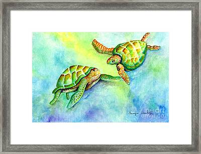 Sea Turtle Courtship Framed Print by Tamyra Crossley