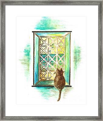 Curiosity - Cat Framed Print by Teresa White
