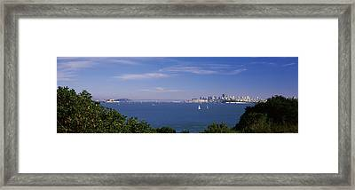 Sea With The Bay Bridge And Alcatraz Framed Print by Panoramic Images