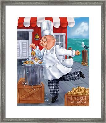 Seafood Chefs-fresh Clams Framed Print by Shari Warren