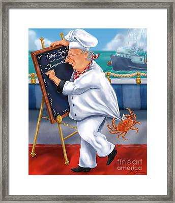 Seafood Chefs-todays Special Framed Print by Shari Warren