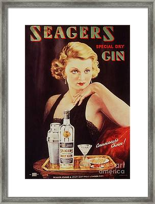 Seagers 1930s Uk Glamour Gin  Cocktails Framed Print by The Advertising Archives