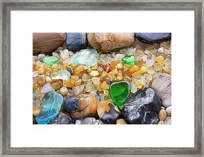 Seaglass Art Prints Coastal Beach Sea Glass Framed Print by Baslee Troutman