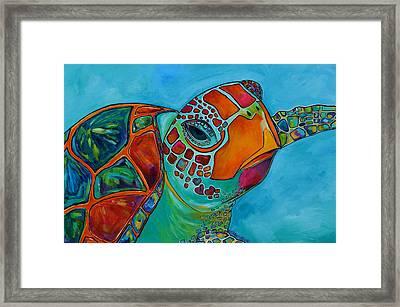 Seaglass Sea Turtle Framed Print by Patti Schermerhorn