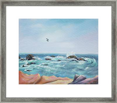 Seagull Over The Ocean Framed Print by Asha Carolyn Young