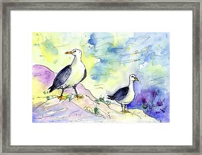 Seagulls In Calpe In Spain Framed Print by Miki De Goodaboom