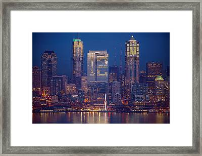 Seahawks 12th Man Seattle Skyline At Dusk Framed Print by Mike Reid
