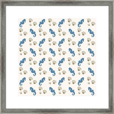 Seahorse And Shells Pattern Framed Print by Christina Rollo