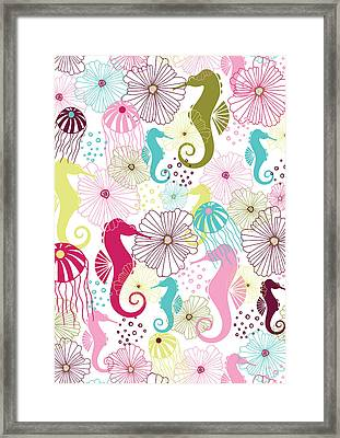 Seahorse Flora Framed Print by Susan Claire