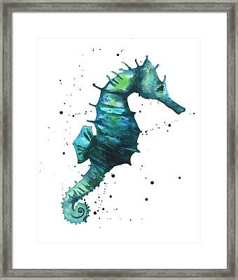 Seahorse In Teal Framed Print by Alison Fennell