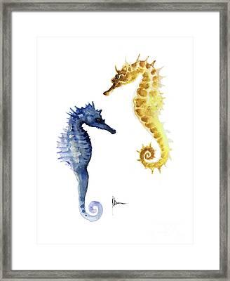 Seahorse Wall Decor Art Print Watercolor Painting Framed Print by Joanna Szmerdt