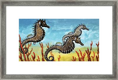 Seahorses Framed Print by English School