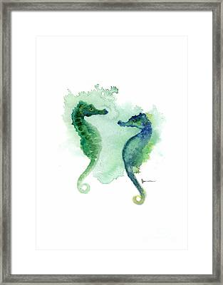 Seahorses Watercolor Art Print Painting Two Seahorses Artwork Framed Print by Joanna Szmerdt
