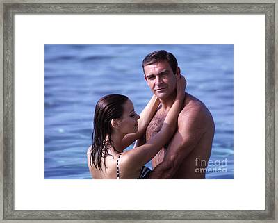 Sean Connery And Claudine Auger On Set Of Thunderball Framed Print by The Phillip Harrington Collection