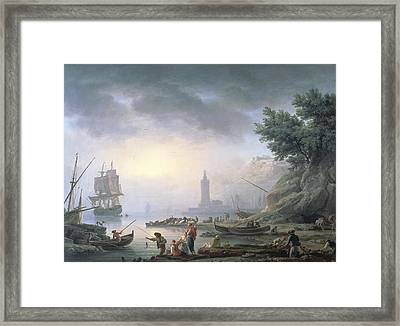 Seaport At Dawn, 1751 Framed Print by Claude Joseph Vernet