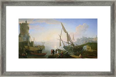 Seaport With Sunset Framed Print by Adrien Manglard