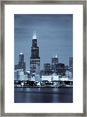 Sears Tower In Blue Framed Print by Sebastian Musial