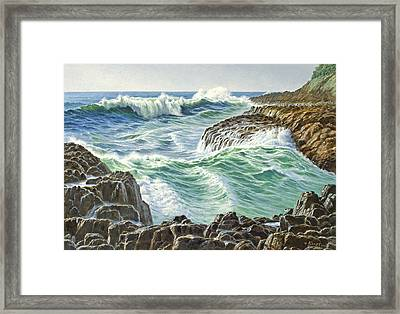 Seascape-devil's Churn-oregon Framed Print by Paul Krapf