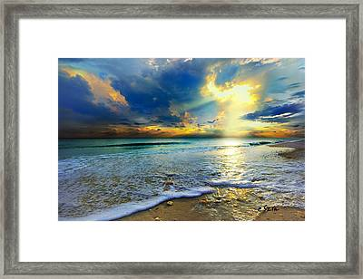 Seascape Sunset-gold Blue Sunset Framed Print by Eszra Tanner