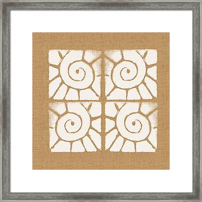 Seashell Tiles Framed Print by Linda Woods
