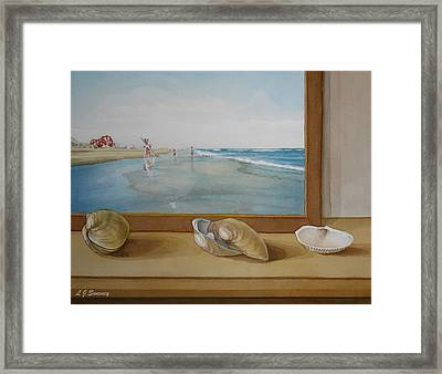Seashells By The Jersey Shore Framed Print by Lauren Sweeney