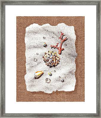 Seashells Coral Pearls And Water  Drops Framed Print by Irina Sztukowski