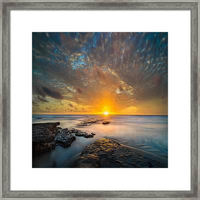 Seaside Sunset - Square Framed Print by Larry Marshall