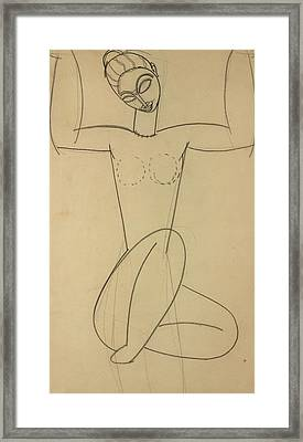 Seated Caryatid Framed Print by Amedeo Modigliani