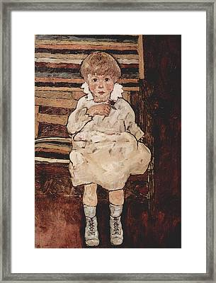 Seated Child Framed Print by Celestial Images