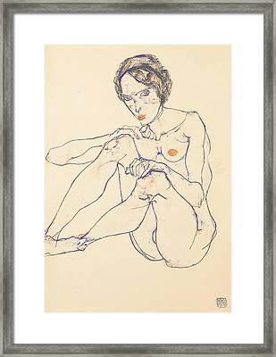 Seated Female Nude Framed Print by Egon Schiele