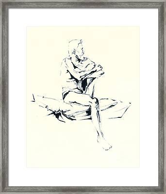 seated Man Framed Print by Konstantin Boreo