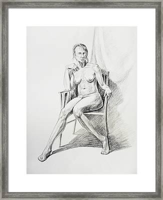 Seated Nude Model Study Framed Print by Irina Sztukowski