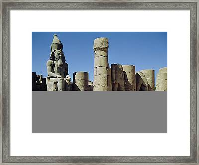 Seated Statue Of Ramesses II C.1279-1213 Bc In The Peristyle Court, New Kingdom Photo Framed Print by Egyptian 19th Dynasty