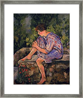 Seated Young Woman Framed Print by Marie Clementine Valadon