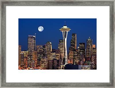 Seattle At Full Moon Framed Print by Inge Johnsson