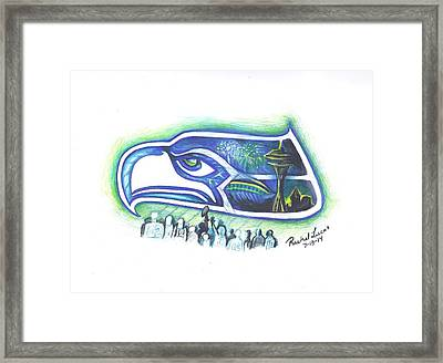 Seattle Football 3.0 Framed Print by Rachel Lucas-Bertsch