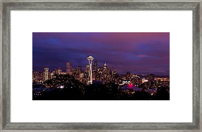 Seattle Night Framed Print by Chad Dutson