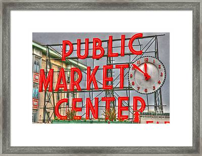 Seattle Public Market Center Clock Sign Framed Print by Tap On Photo