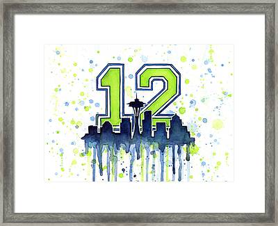 Seattle Seahawks 12th Man Art Framed Print by Olga Shvartsur