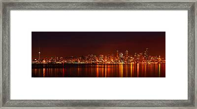 Seattle Skyline For 12th Man Framed Print by Abhay P