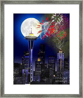 Seattle Skyline Framed Print by Methune Hively